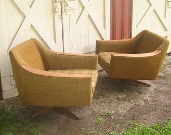 Set of vintage scandinavian mid century armchairs