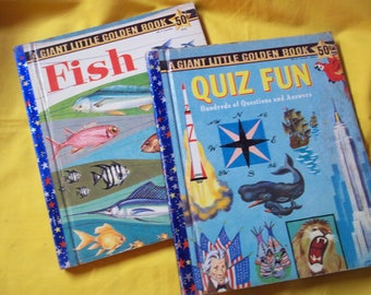 """2 Giant Little Golden Books - """"Quiz Fun - Hundreds of Questions and Answers"""" and """"Fish"""""""