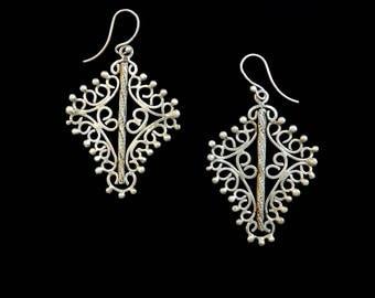 Silver earrings,Big earrings,Openwork filigree,Silver filigree earrings,Handmade silver earrings,Indonesian earrings,gift for her earrings