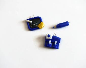 Binder + charcoal + dark blue polymer clay pencil