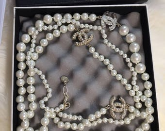 New 3 cc long pearl necklace designer inspired