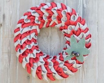 Ohio State Buckeyes Burlap Petal Wreath