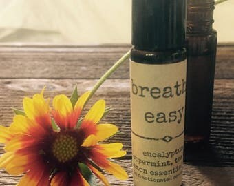 breathe easy essential oil roller bottle