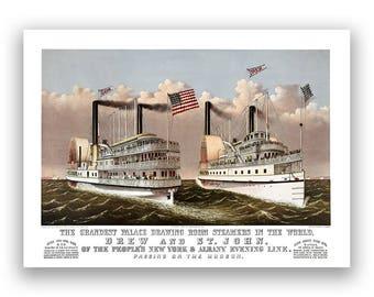 Steamship Illustration, Old Ships Sailing On Hudson River, 1800s Nautical Artwork, Restored Fine Art Print, Multiple Sizes Avaliable