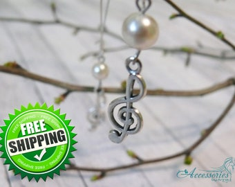 White Music earrings Treble clef earrings Music jewelry Note earrings Music gift Treble clef jewelry Treble clef charm Silver treble clef