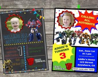 Personalized Hasbro Transformers Birthday Invitation- Digital File Only- DIY 5x7