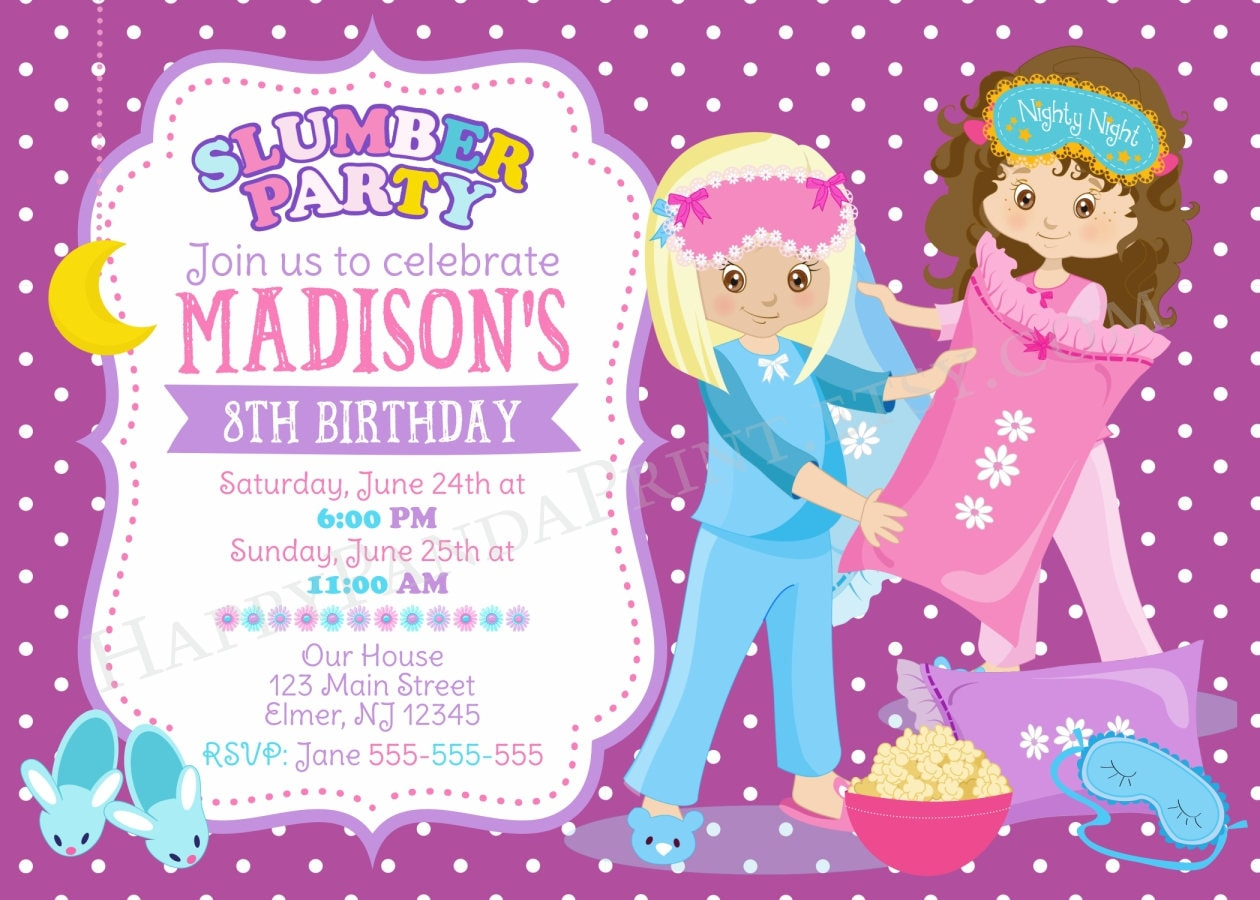 SLUMBER Party Invitation PAJAMA PARTY Invitation Slumber Birthday ...