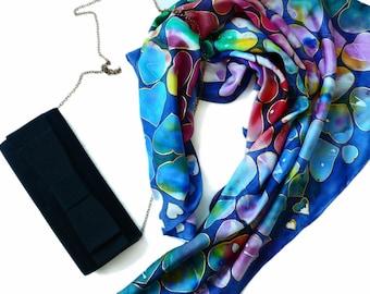 Silk Scarf Hand-Painted, Batik, Silk Square, Silk Scarf, Gift For Her, Christmas Gift, Cadeau Noel, Foulad en Soie, Carré de Soie, Echarpe