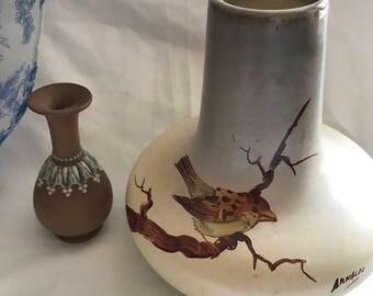 1960s Studio Art Pottery by Arnaldo - Vintage Handpainted Vase with Sparrow Bird.