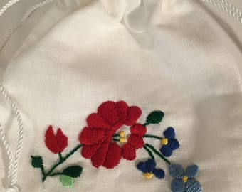 Hungarian pattern EnchDK hand embroidered pouch
