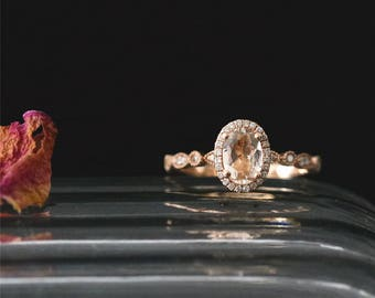 Natural 7*5mm Oval Cut Morganite Ring Diamonds Halo Ring Stackable Art Deco Ring Bridal Ring 14K Rose Gold Engagement Ring Anniversary Ring
