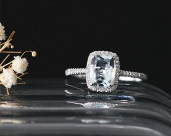 14K White Gold Ring Halo Ring 8*6mm Cushion Cut Natural Aquamarine Engagement Ring March's Birthstone Aquamarine Ring Stackable Bridal Ring