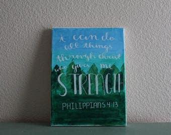 9x12 bible verse painted canvas Philipians 4:13