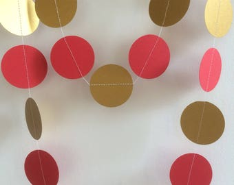 Red and Gold Shimmery Circle Garland, Party Decorations, Celebrations