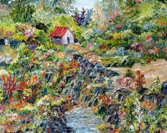 Figurative work. Oil on canvas. Spatula. Landscape. Color. Abstract texture. Art. Nature. Trees. Flowers. Water. Barn