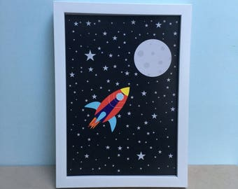 Rocket in Space Art Print