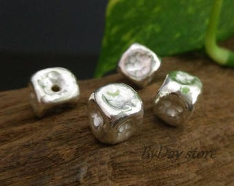 Handmade Hollow Cube Silver Beads,Hammered Cube Beads,Approx: 11x11mm.,2 pcs.
