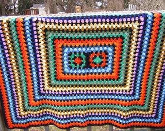 Vintage Afghan,Granny Square Afghan,Rainbow Blanket,Crocheted Afghan