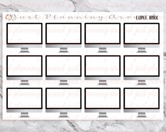 Large iMac Stickers, Computer Stickers, Computer Icons, for use with  Erin Condren, Happy Planner, meeting stickers