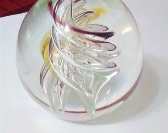 Large ART DECO Clear Glass Round PAPERWEIGHT Swirl Design