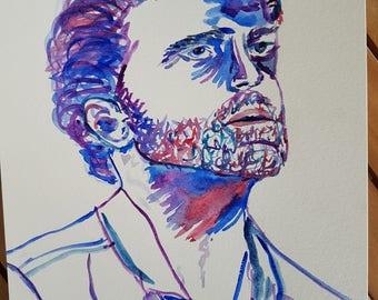 Portrait of Rob Benedict from Louden Swain original watercolor