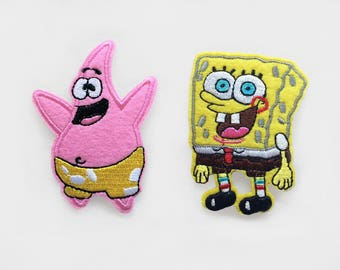 2x sponge bob + Patrick star PATCHES Embroidery badge Iron On Embroidered Applique cartoon yellow silly character funny kid