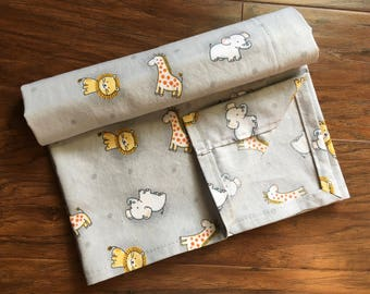 Cotton Receiving Baby Blanket, Cotton Sheet, Baby Shower Gift, Nursery Bedding, Boy Blanket/Girl Blanket, Animal Theme, Baby Branch Boutique