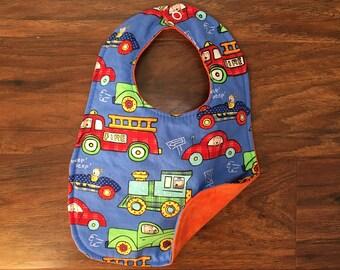 Reversible Baby Bib, Boy Bib, Baby Shower Gift, Drool Bib, Transportation Bib, Baby Bib, Handmade, Boutique Bib, Baby Branch Boutique