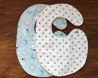 Baby Boy Bib, Baby Bib, Drool Bib, Side Snap Bib, Dot Bib,Baby Shower Gift, Flannel Bib, Sun Bib, Moon Bib, Handmade, Baby Branch Boutique