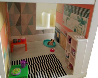 Dolls House kitchen background  – Kids room furniture sticker – Ikea hack kallax play house sticker DIY dolls house