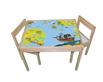 Pirate treasure island– Kids room furniture sticker – Ikea hack Latt sticker for play tables/storage. - Furniture not included.