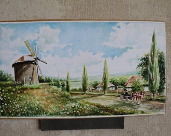 """Painting """"Country Landscape"""" Watercolor"""