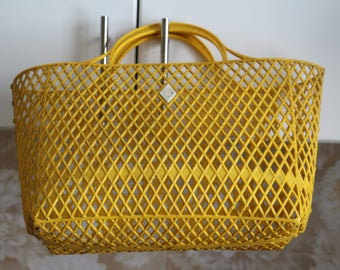 Yellow shopping bag, womens handbag Vintage, Retro bag, shopping tote, plastic USSR tote