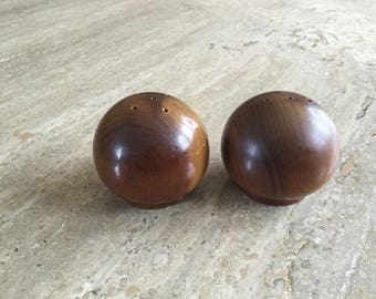 Mid Century Round Wooden Salt & Pepper Shakers