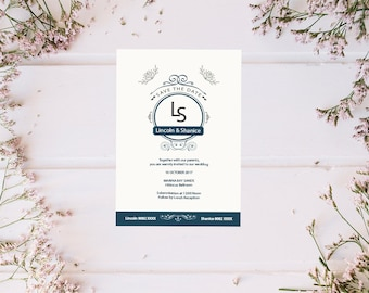 Wedding Invitation Victorian - Vintage - Classic - Floral - Flower - Printable template
