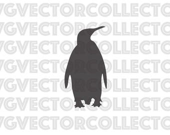 penguin silhouette outline svg dxf eps png clip art instant digital download