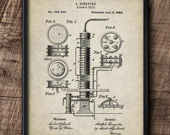 Alcohol Still · 1880 · Patent · Vintage · Instant Download · Printable #171