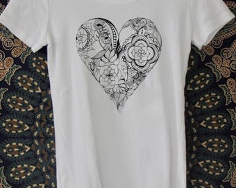 Heart Womens Tee in White - Vintage Style Graphic Tee - Screen Printed Designs with Eco-Friendly Ink - 100% Cotton
