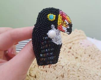 Brooch toucan brooch bird Tropican bird brooch embroidered beadwork Toucan Jewelry