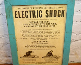 Electric shock educational factory poster original old antique industrial decor anatomical
