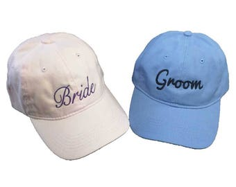 Bride And Groom His And Hers Embroidered Soft 6 Panel Dad Hats