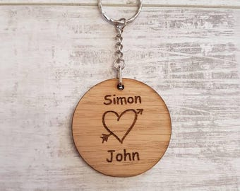Personalised keyring, boyfriend, girlfriend, love, two hearts, beat as one, etched heart.