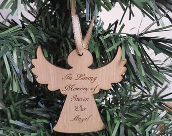 Christmas tree decoration, personalised Angel, wooden, Xmas tree ornament.