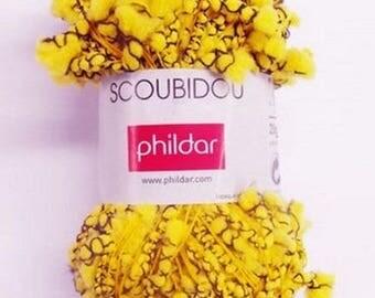 wool PHILDAR SCOUBIDOU RAPESEED black and yellow 25 gr new //25