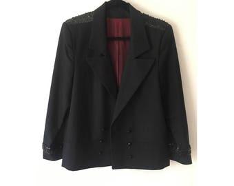 Sequin Blazer/ Black Blazer/ Double Breasted Blazer/ Jazz Coat/ Large Blazer/ Stage Coat/ 60s Coat