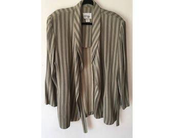 Striped Blazer/ Linen Blazer/ Oversized Blazer/ Wrap Coat/ 80s Blazer/ Slouchy Blazer/ Lightweight Jacket