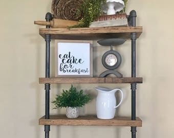 Industrial Pipe Shelves - Rustic - Kitchen Shelving