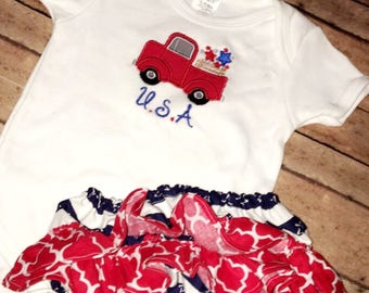 Patriotic diaper cover, onesie and matching Headband.