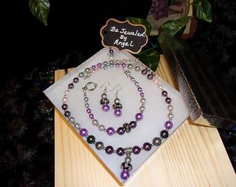 Purple Rain Jewelry Set, Women's Jewelry Set, Jewelry Set, Gift Set, Glass Pearls, Beaded Necklace, Bracelet and Earrings, Handmade