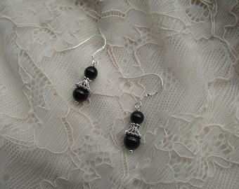 Silver black tourmaline earrings